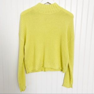 Rolled hem sweater high neck ribbed chunky neon yellow pullover size large